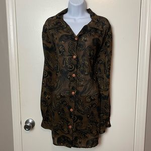 Lord & Taylor PLUS SIZE 2X Paisley Blouse N-53